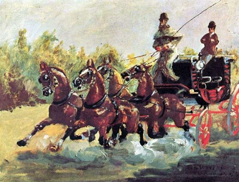 Граф Альфонс де Тулуз Лотрек править упряжкою з чотирьох коней   Анрі де Тулуз Лотрек