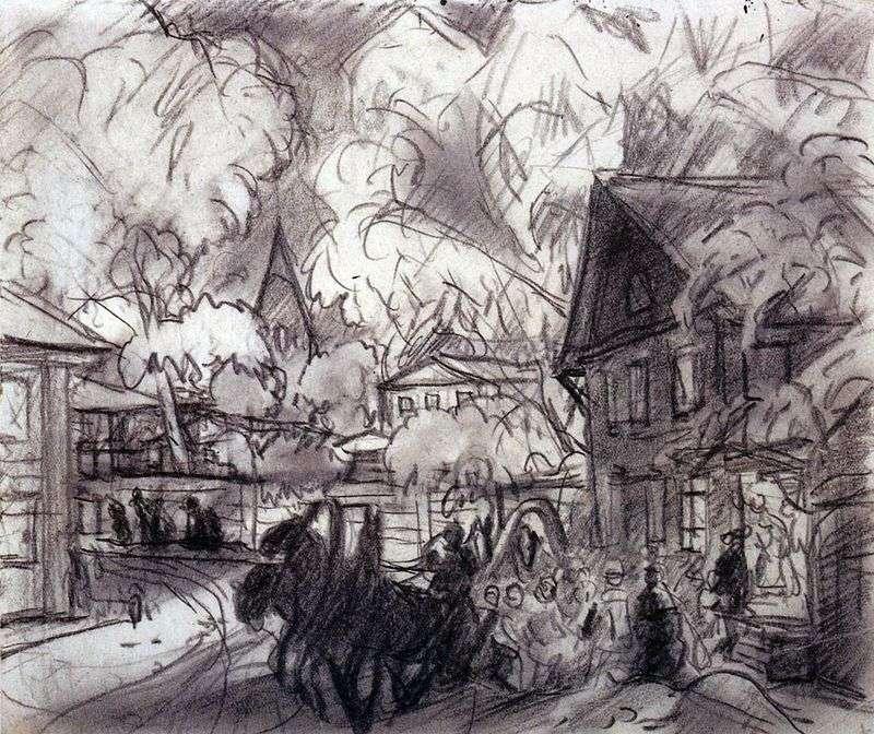 Міський пейзаж з трійкою   Борис Кустодієв