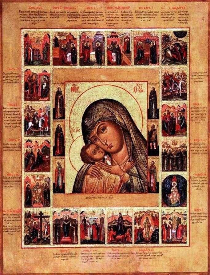 Богоматір Днепрская, з Акафістом в 20 клеймах і святими на полях середника
