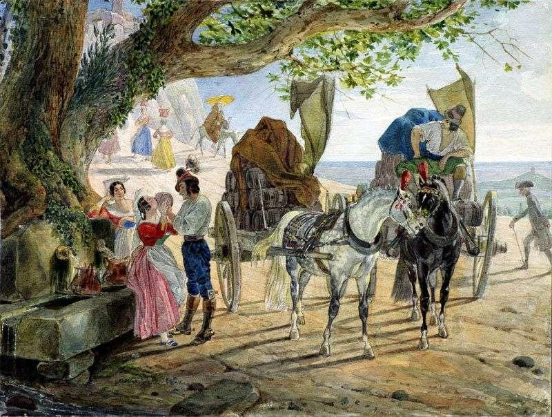 Гуляння в Альбано   Карл Брюллов
