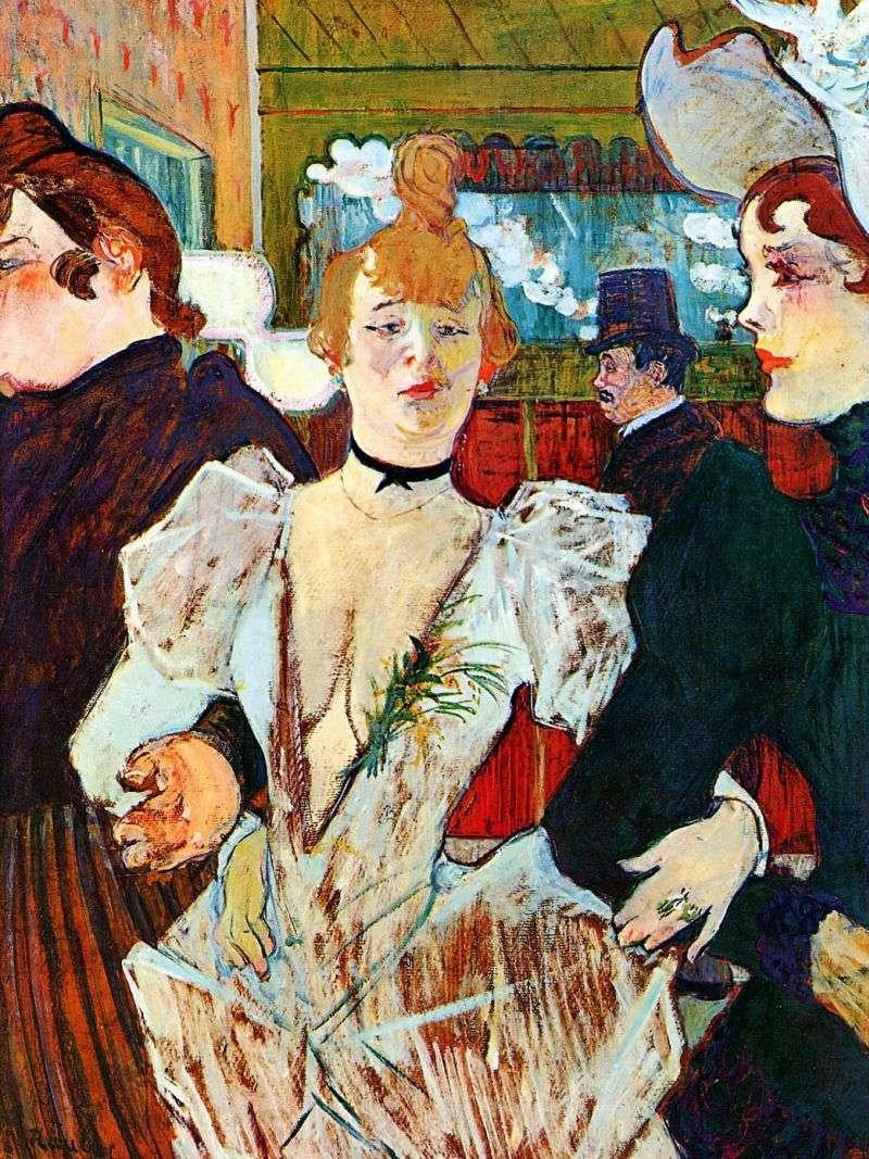 Ла Гулю, що входить в Мулен Руж з двома жінками   Анрі де Тулуз Лотрек