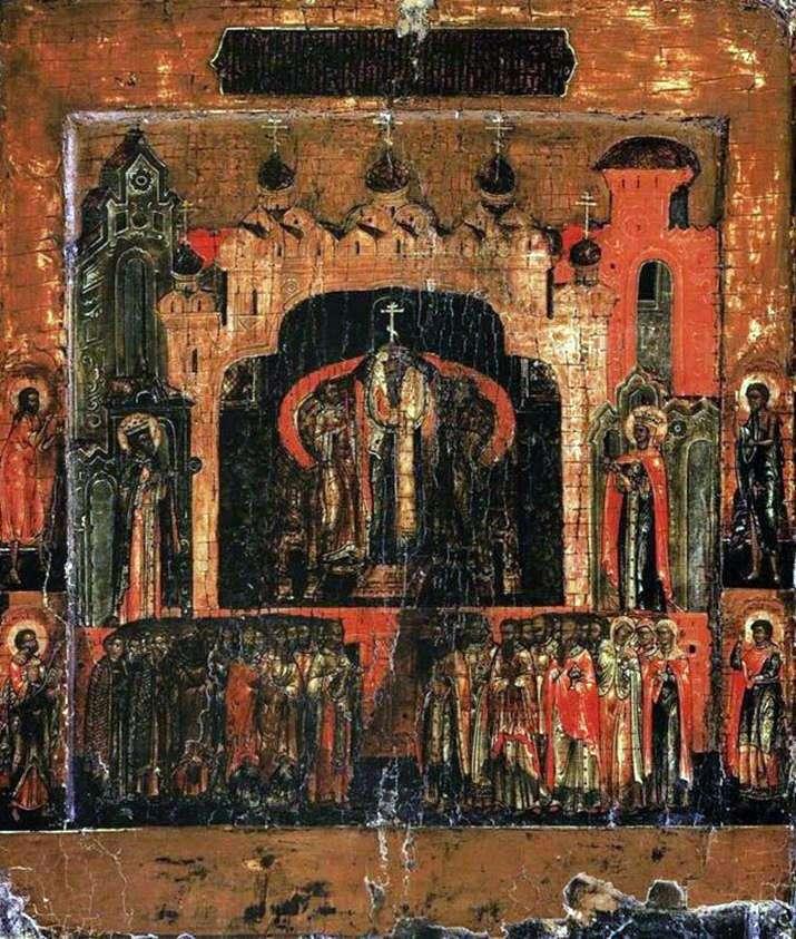 Воздвиження хреста, зі святими на полях