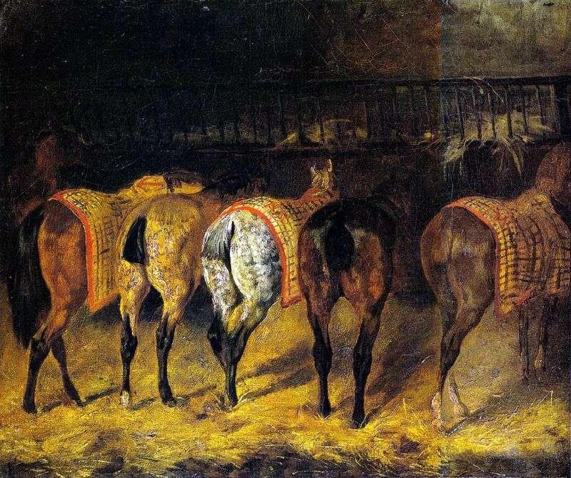 Пять коней, повернених крупом, в стайні   Теодор Жеріко