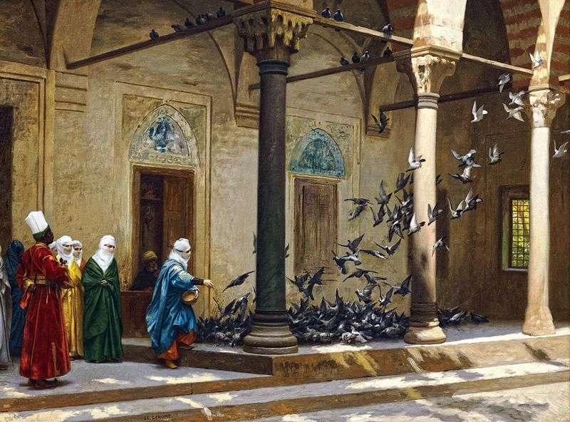 Жінки гарему годують голубів   Жан Леон Жероме