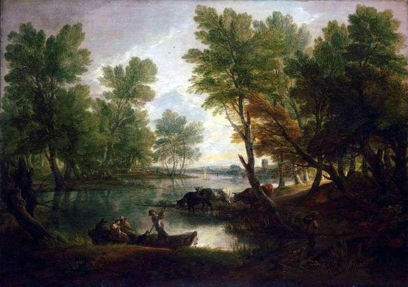 Річковий пейзаж з фігурами в човні   Томас Гейнсборо