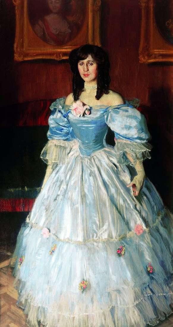 Портрет жінки в блакитному   Борис Кустодієв
