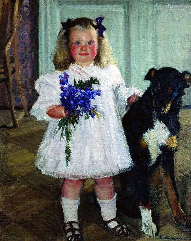 Портрет Ірини Кустодиевой з собакою Шумкой   Борис Кустодієв