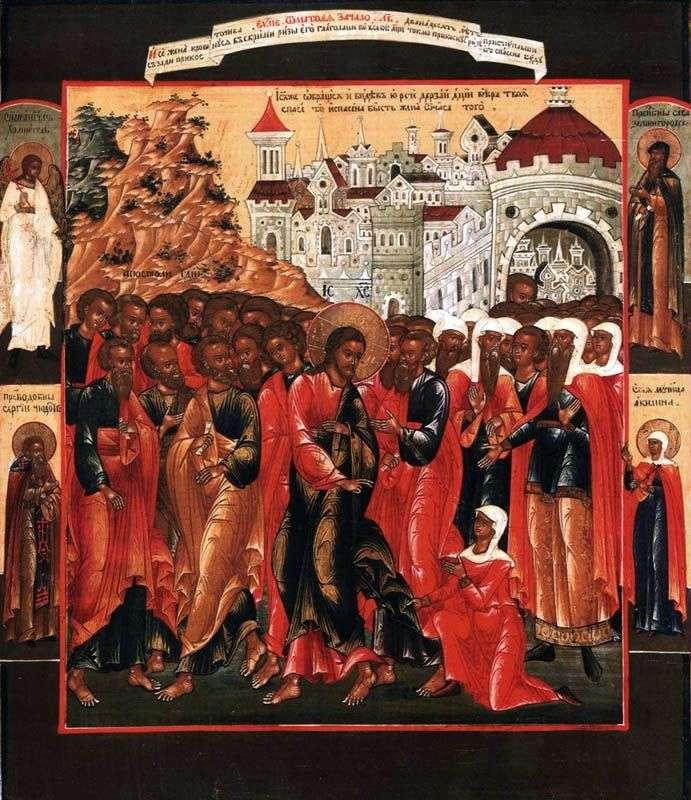 Зцілення кровоточивої жінки, з Ангелом хранителем і трьома святими на полях