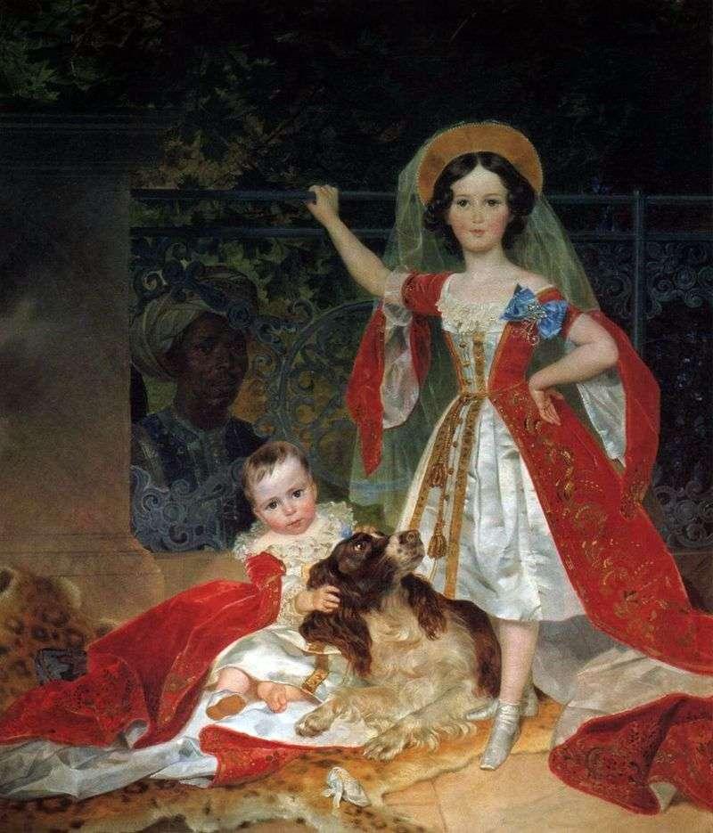 Портрет дітей князя Волконського з арапом   Карл Брюллов