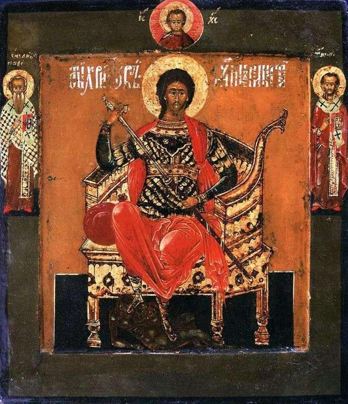 Святий великомученик Микита на престолі, зі святими на полях