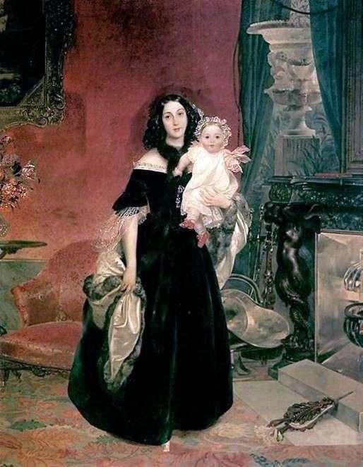 Портрет М. А. Бек з дочкою   Карл Брюллов