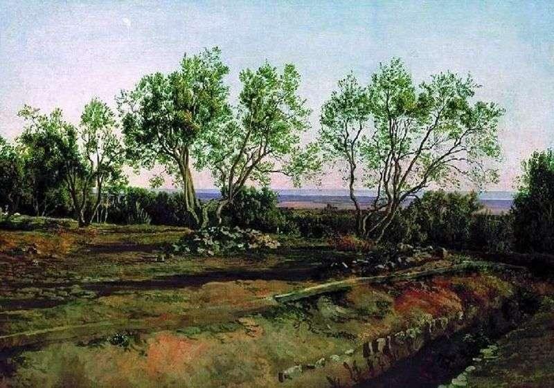 Оливи біля кладовища у Альбано. Молодий місяць   Олександр Іванов