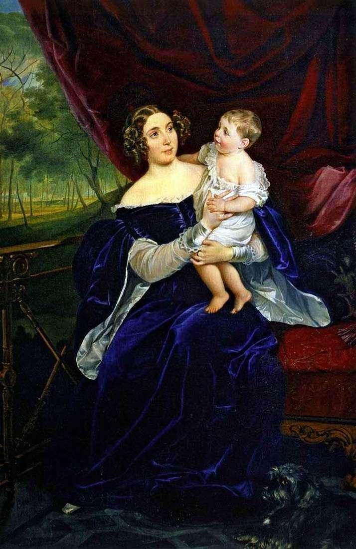 Портрет О. В. Орлової Давидової з дочкою   Карл Брюллов