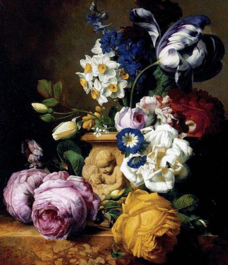 Троянди, тюльпани, дельфинум, півонії і нарциси у вазі   Чарльз Жосеф Ноуд