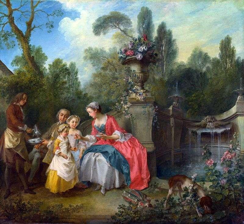 Дама і кавалер з двома дівчатками в саду   Нікола Ланкре