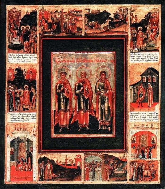 Святі проповідники Гурій, сам він і Авів, в рамі з житієм в 10 клеймах
