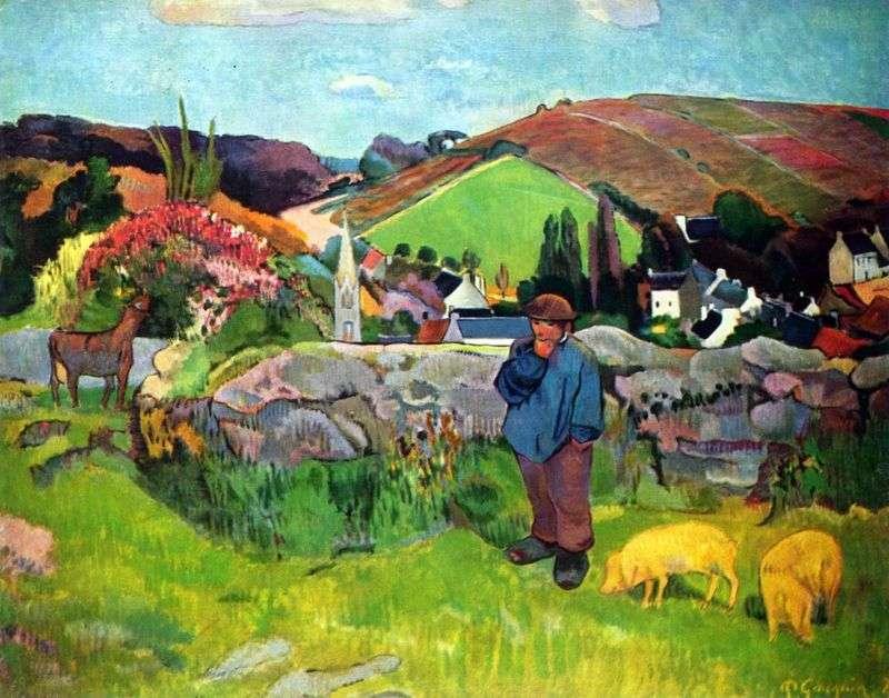Бретонська пейзаж зі свинопасом   Поль Гоген