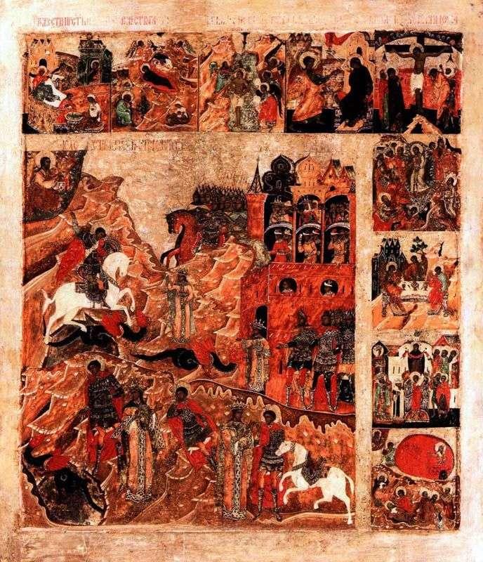 Чудо святого Георгія про змія, з 9 клеймами свят