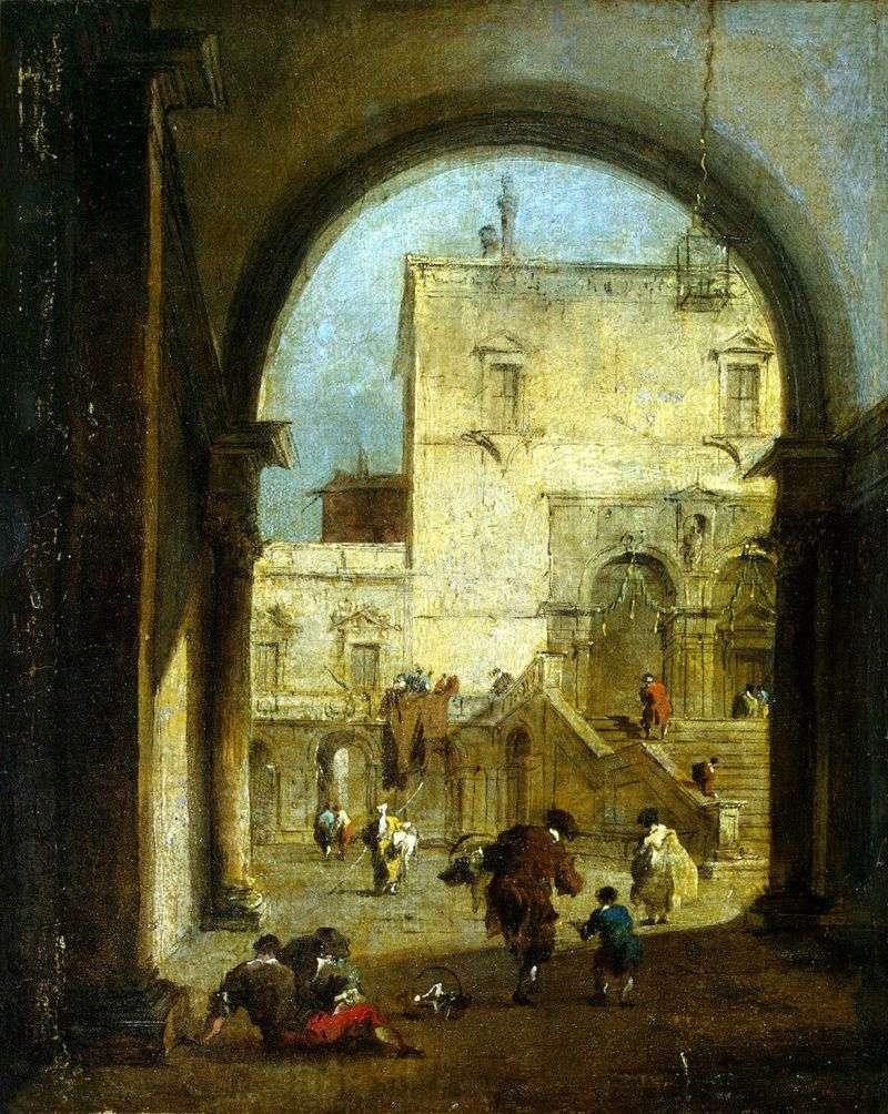 Вид площі з палацом   Франческо Гварді