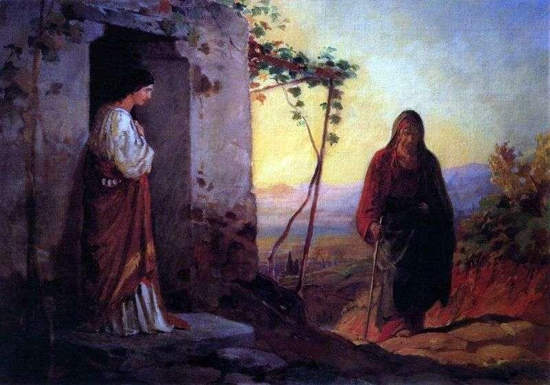 Марія, сестра Лазаря, зустрічає Ісуса Христа, що йде до них у хату   Микола Ге