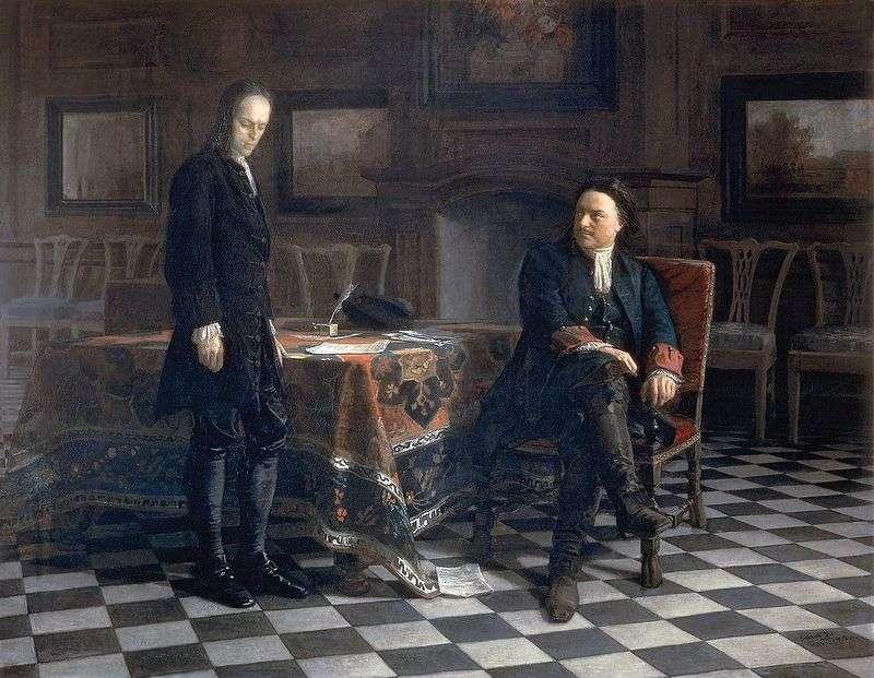 Петро I допитує царевича Олексія в Петергофі   Микола Ге