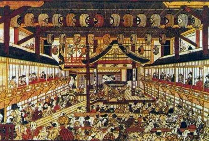 Велика переспективная гравюра з зображенням всіх зірок театру   Окумура Масанобу