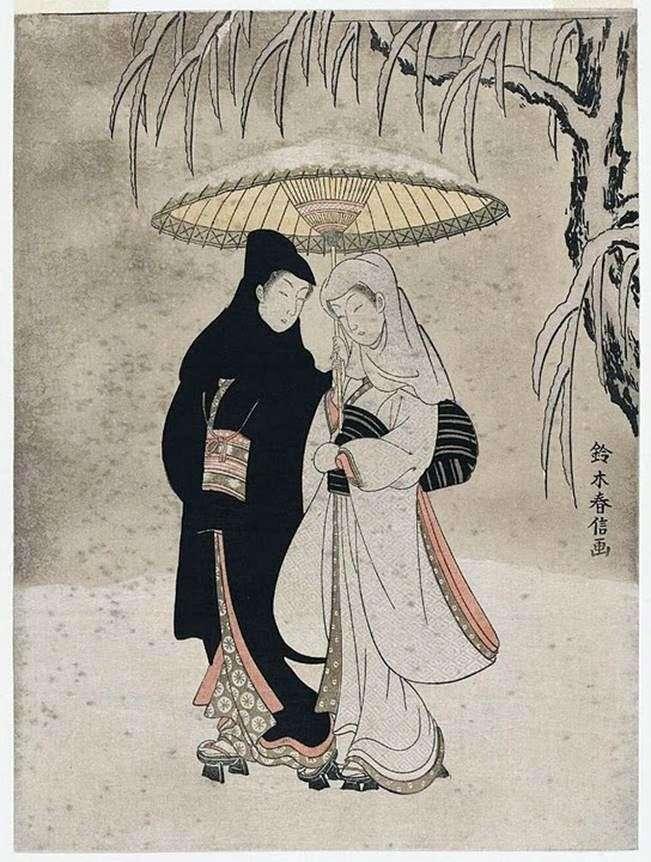 Закохані в засніженому саду   Судзукі Харинобу