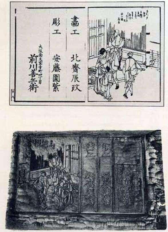 Друкована дошка та сучасний відбиток останнього аркуша книги   Кацусіка Хокусай