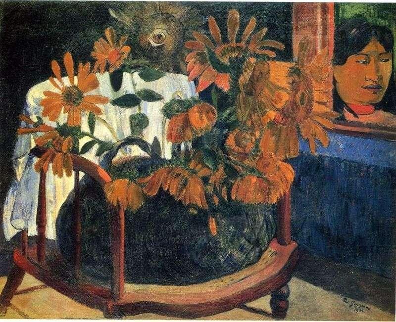 Натюрморт з соняшниками на кріслі   Поль Гоген