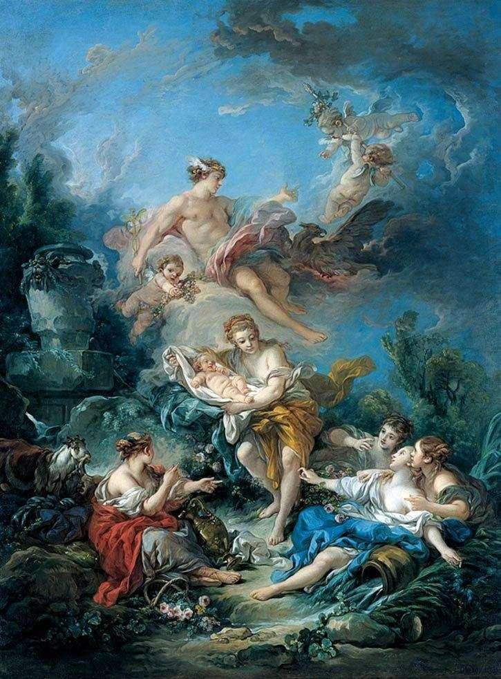 Меркурій вручає німфам немовляти Бахуса   Франсуа Буше