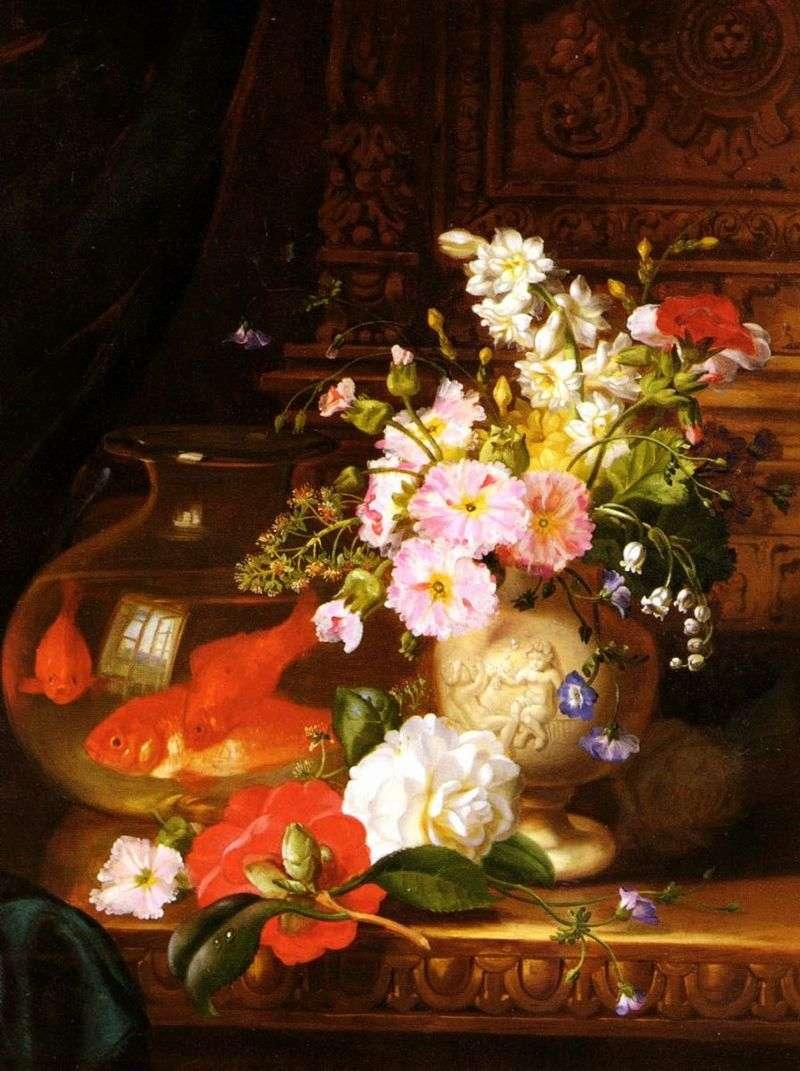 Натюрморт з камеліями, первоцвітами, лілією і акваріум з золотими рибками   Джон Вейнрайт
