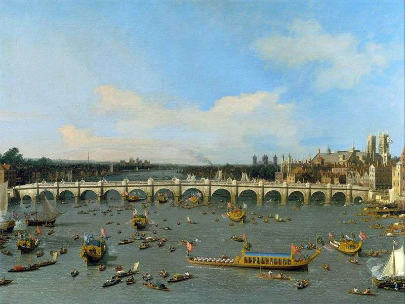 Вестмінстерський міст в Лондоні з кортежем лорда мера на Темзі   Антоніо Каналетто