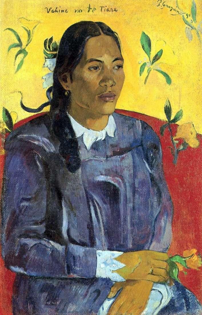 Таїтянська жінка з квіткою   Поль Гоген