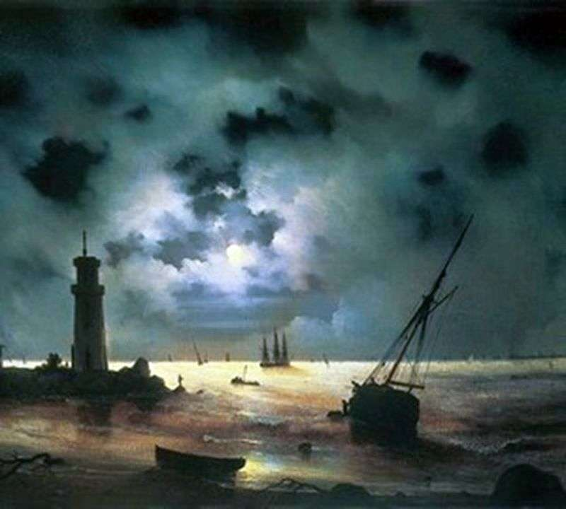 Берег моря вночі. У маяка   Іван Айвазовський