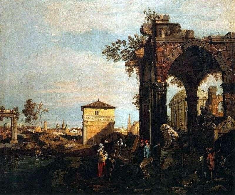 Каприччо з руїнами і воротами Портелло в Падуї   Антоніо Каналетто