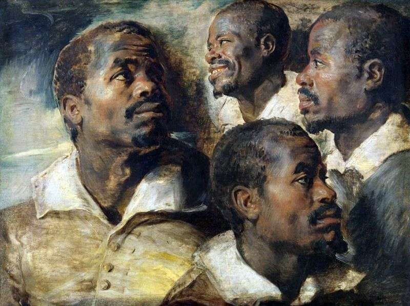 Чотири ескізи голови африканця   Пітер Рубенс