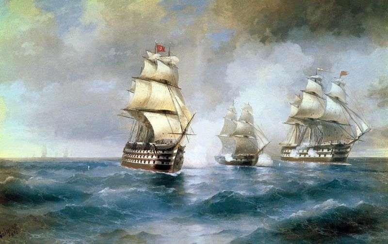 Бриг Меркурій, атакований двома турецькими суднами   Іван Айвазовський