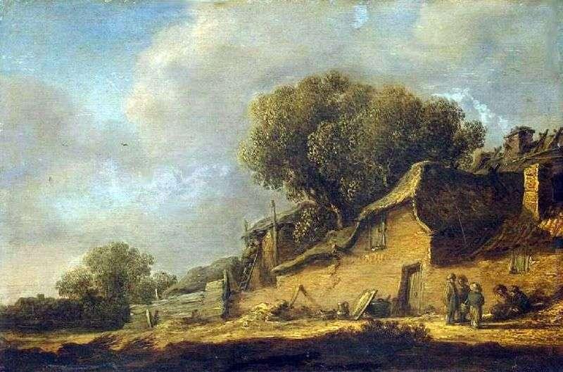 Пейзаж з селянської хатиною   Ян ван Гойен