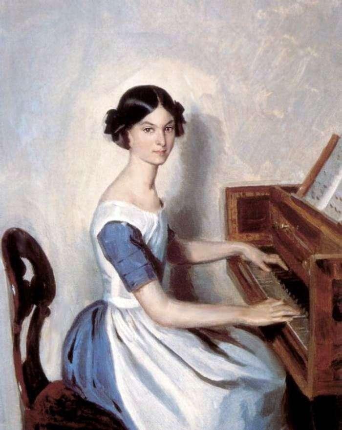 Портрет Н. П. Жданович за клависином   Павло Федотов