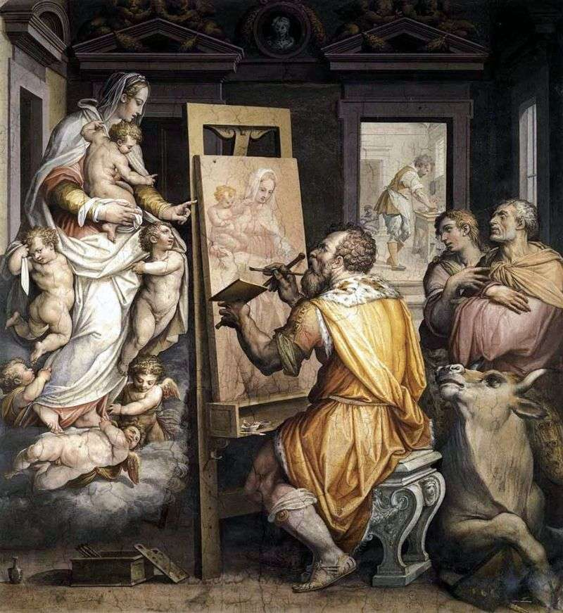 Святий Лука пише портрет Богородиці   Джорджо Вазарі