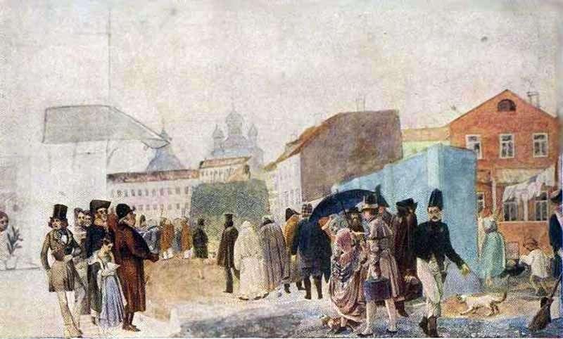 Вулична сцена в Москві під час дощу   Павло Федотов