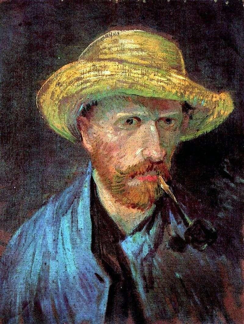 Автопортрет в соломяному капелюсі з трубкою   Вінсент Ван Гог