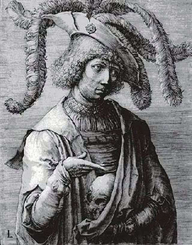 Юнак із черепом в руках   Лукас ван Лейден