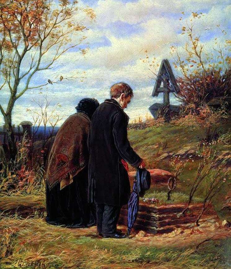 Старики батьки на могилі сина   Василь Перов