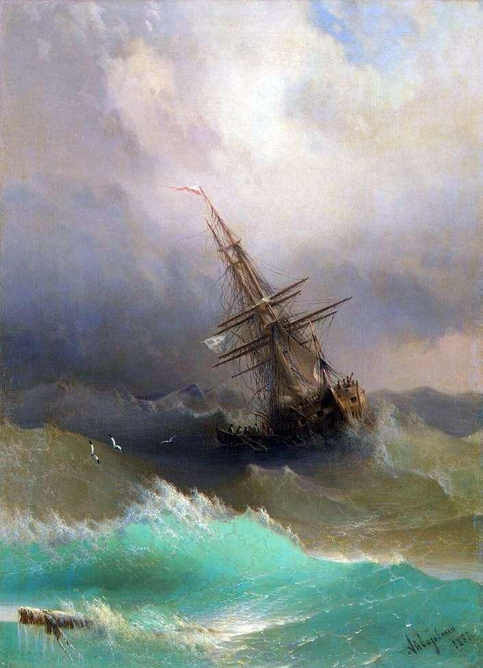 Корабель серед бурхливого моря   Іван Айвазовський