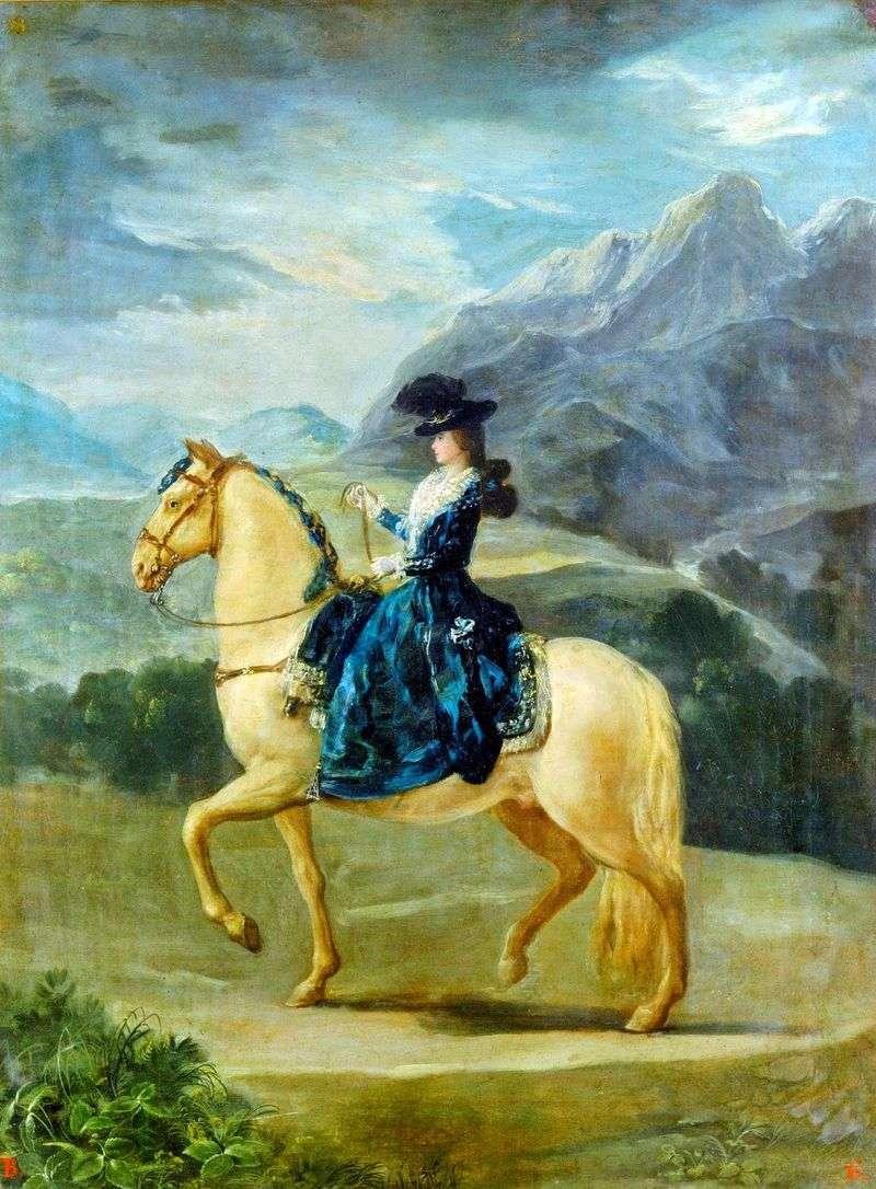 Портрет Марії Терези де Бурбон і Валлабрига на коні   Франсіско де Гойя