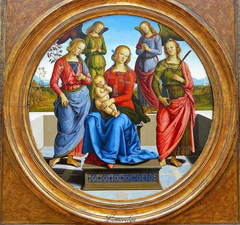 Мадонна з Немовлям в оточенні ангелів, св. Троянди і св. Катерини   Пєтро Перуджіно
