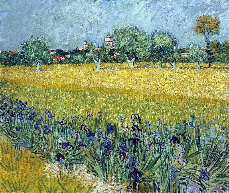 Вид на Арль з ірисами на передньому плані   Вінсент Ван Гог