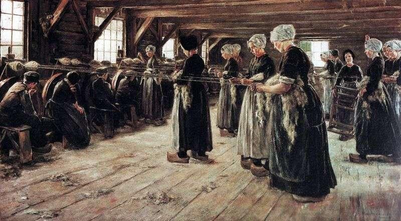 Трепальщици льону в Ларене   Макс Ліберман