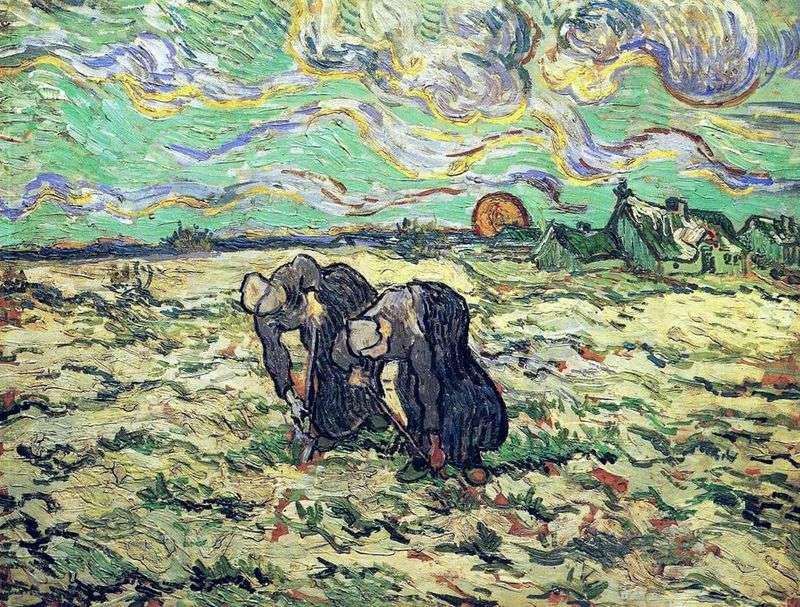 Дві селянки копаються в полі зі снігом   Вінсент Ван Гог